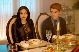 Camila Mendes as Veronica and KJ Apa as Archie Andrews on Riverdale