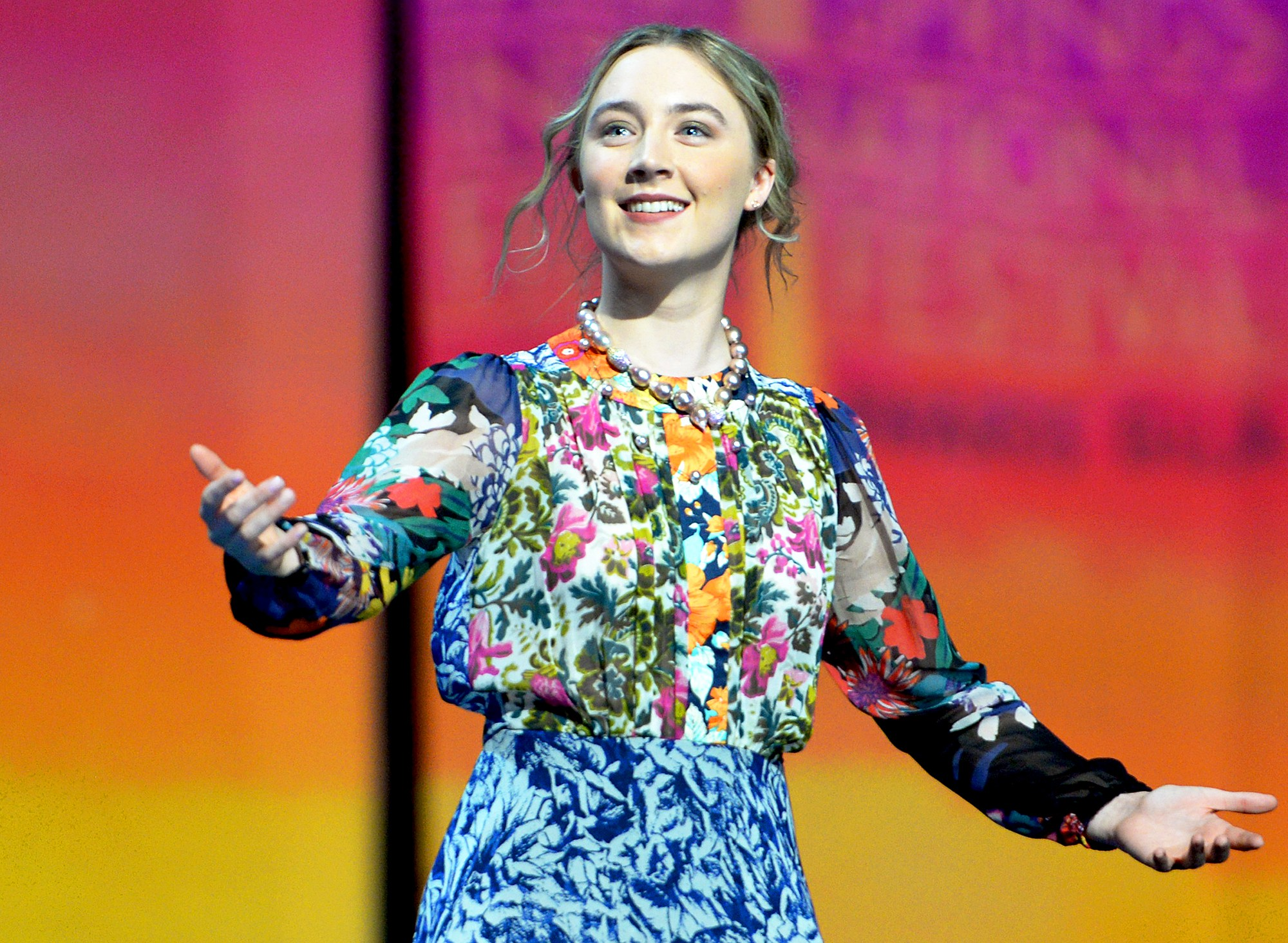 Saoirse Ronan accepts the International Star Award onstage at the 27th Annual Palm Springs International Film Festival Awards Gala in Palm Springs, California.