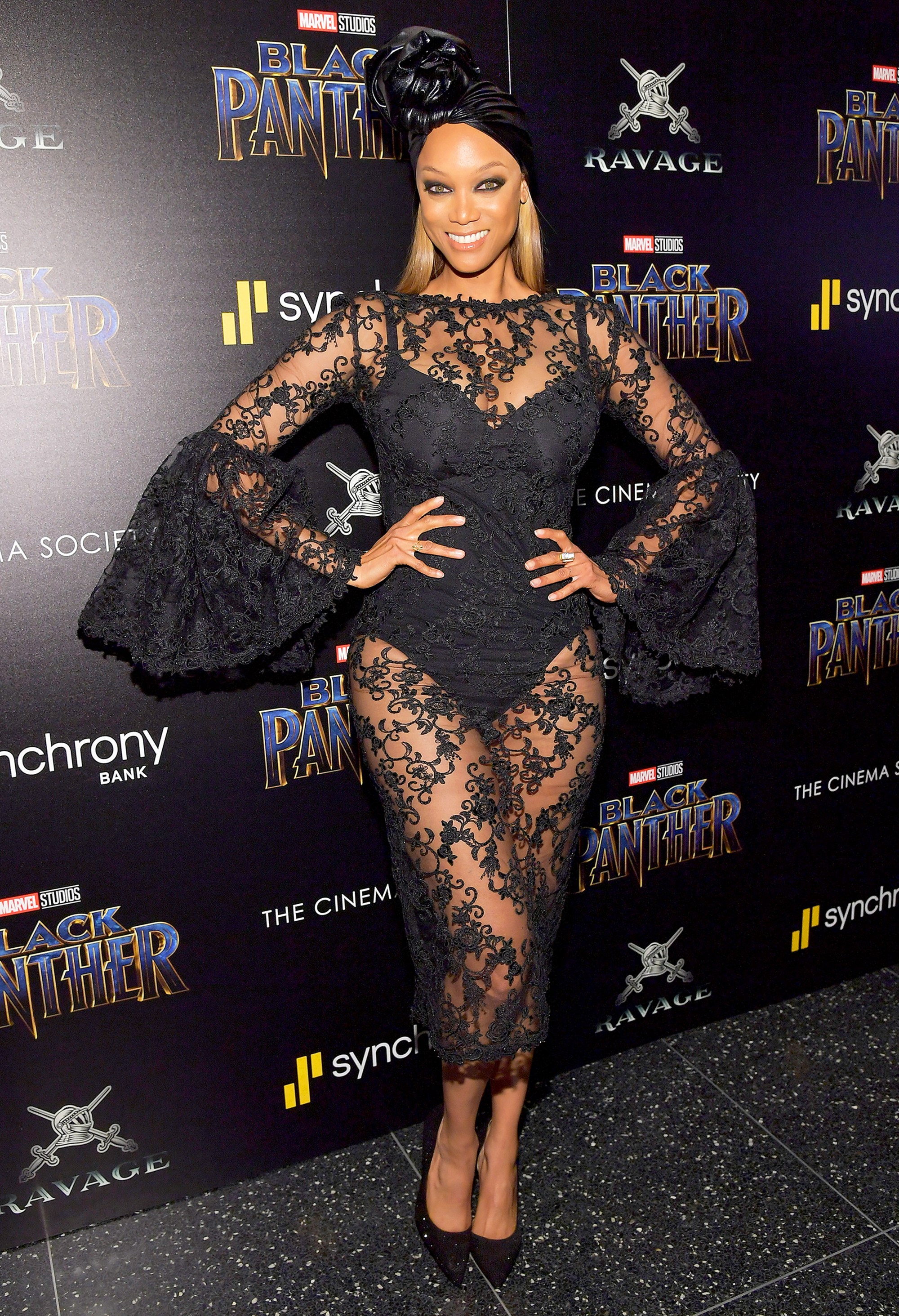 Tyra Banks attends the screening of Marvel Studios' Black Panther hosted by The Cinema Society on February 13, 2018 in New York City.