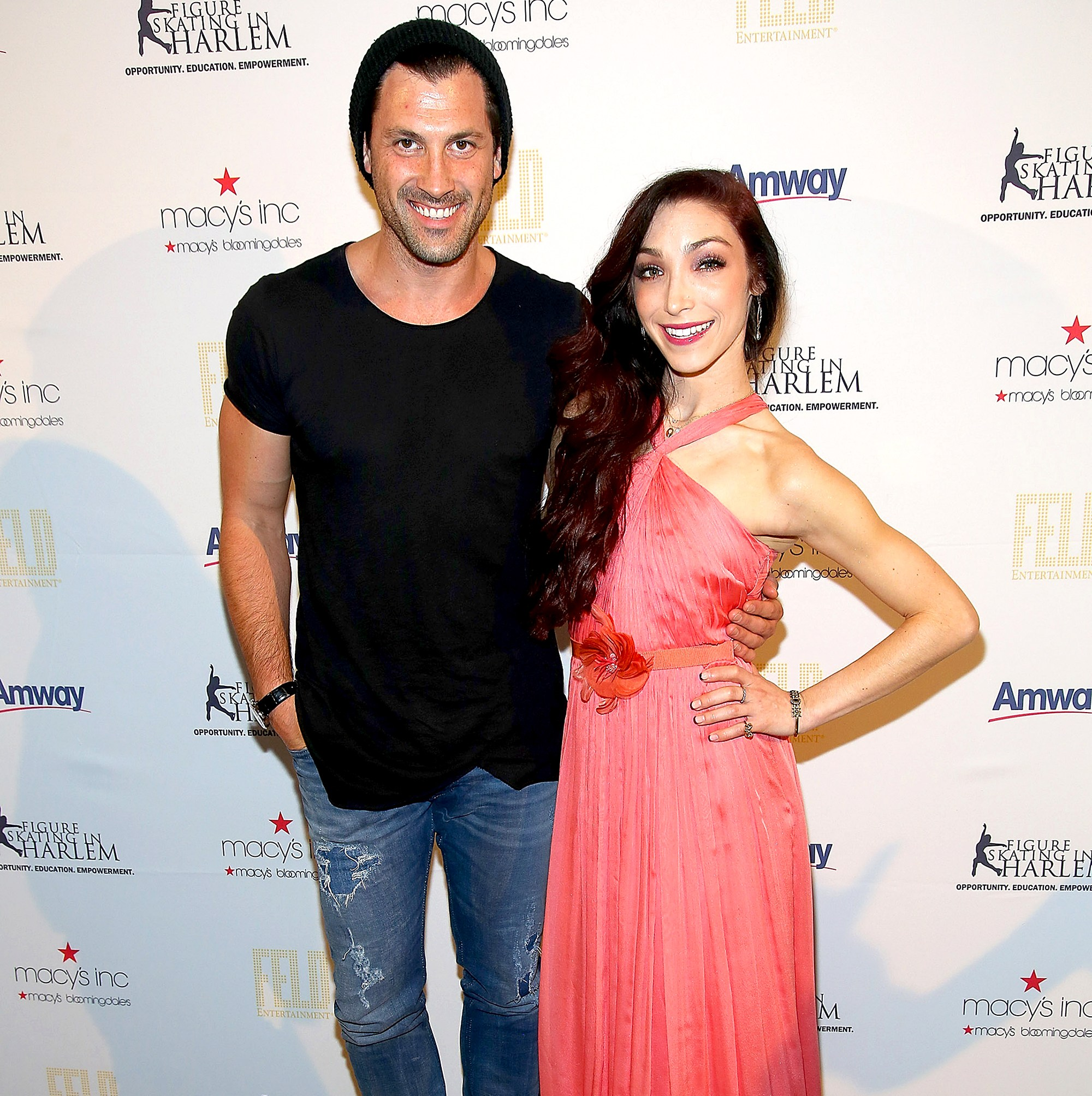 Maksim Chmerkovskiy and Meryl Davis attend The 10th Annual Skating With The Stars Benefit Gala at 583 Park Avenue in New York City.