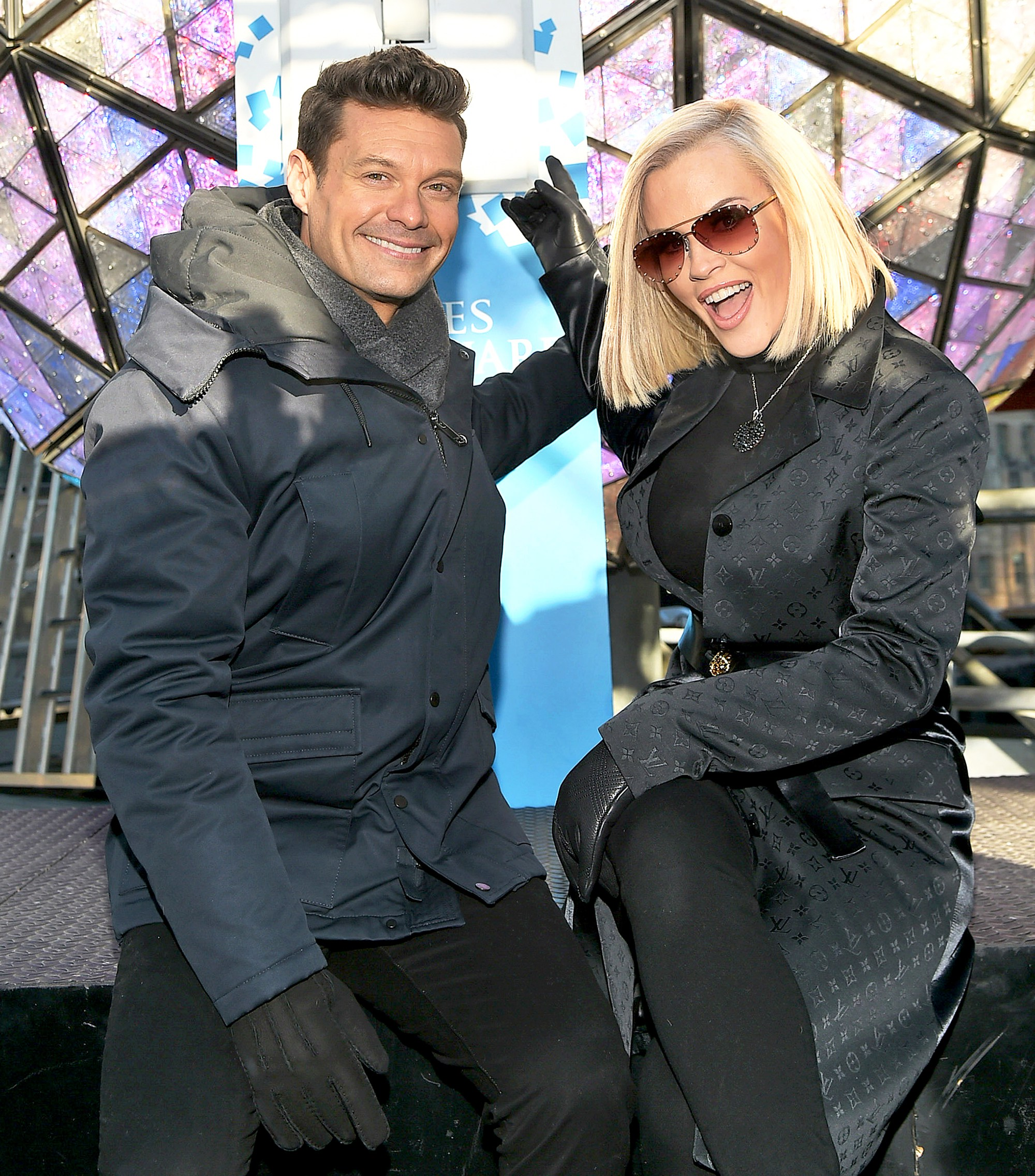 Ryan Seacrest and Jenny McCarthy attend Dick Clark's New Year's Rockin' Eve 2018 press junket at Times Square on December 29, 2017 in New York City.
