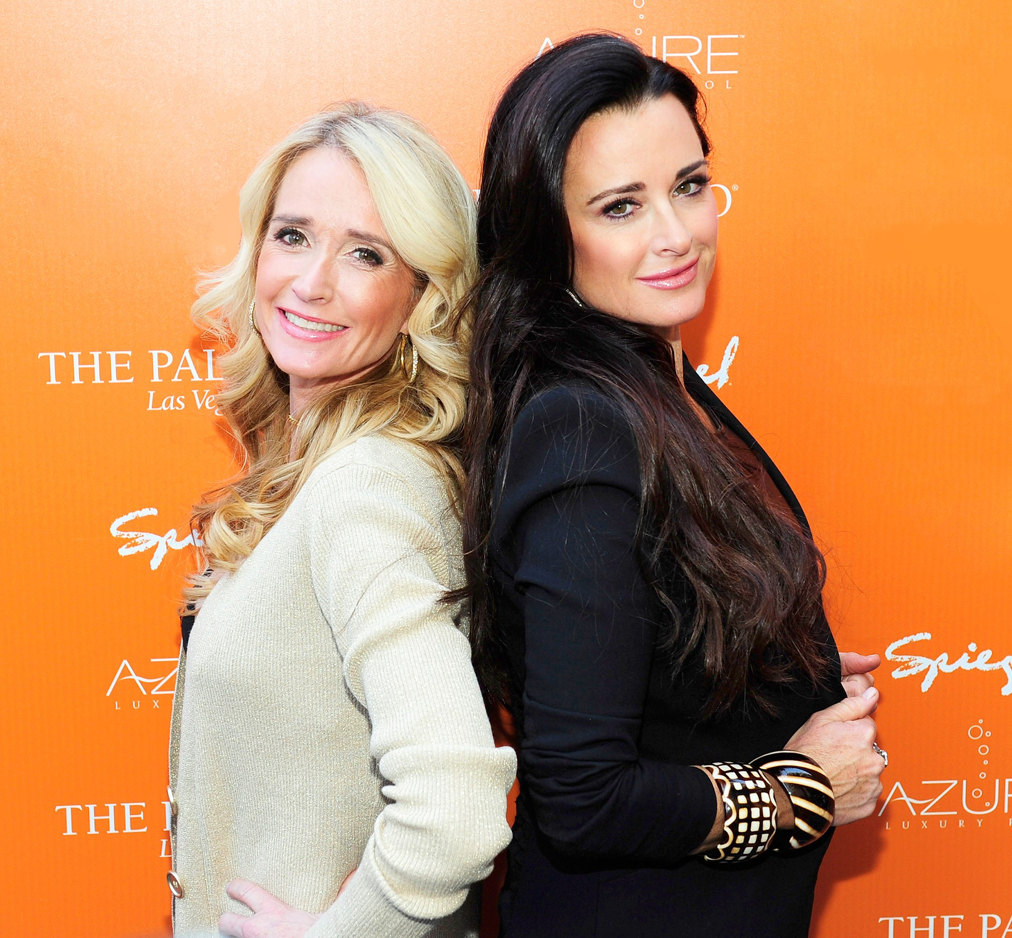 Kim Richards and Kyle Richards arrive to the grand opening of Azure luxury pool at The Palazzo on April 10, 2011 in Las Vegas, Nevada.