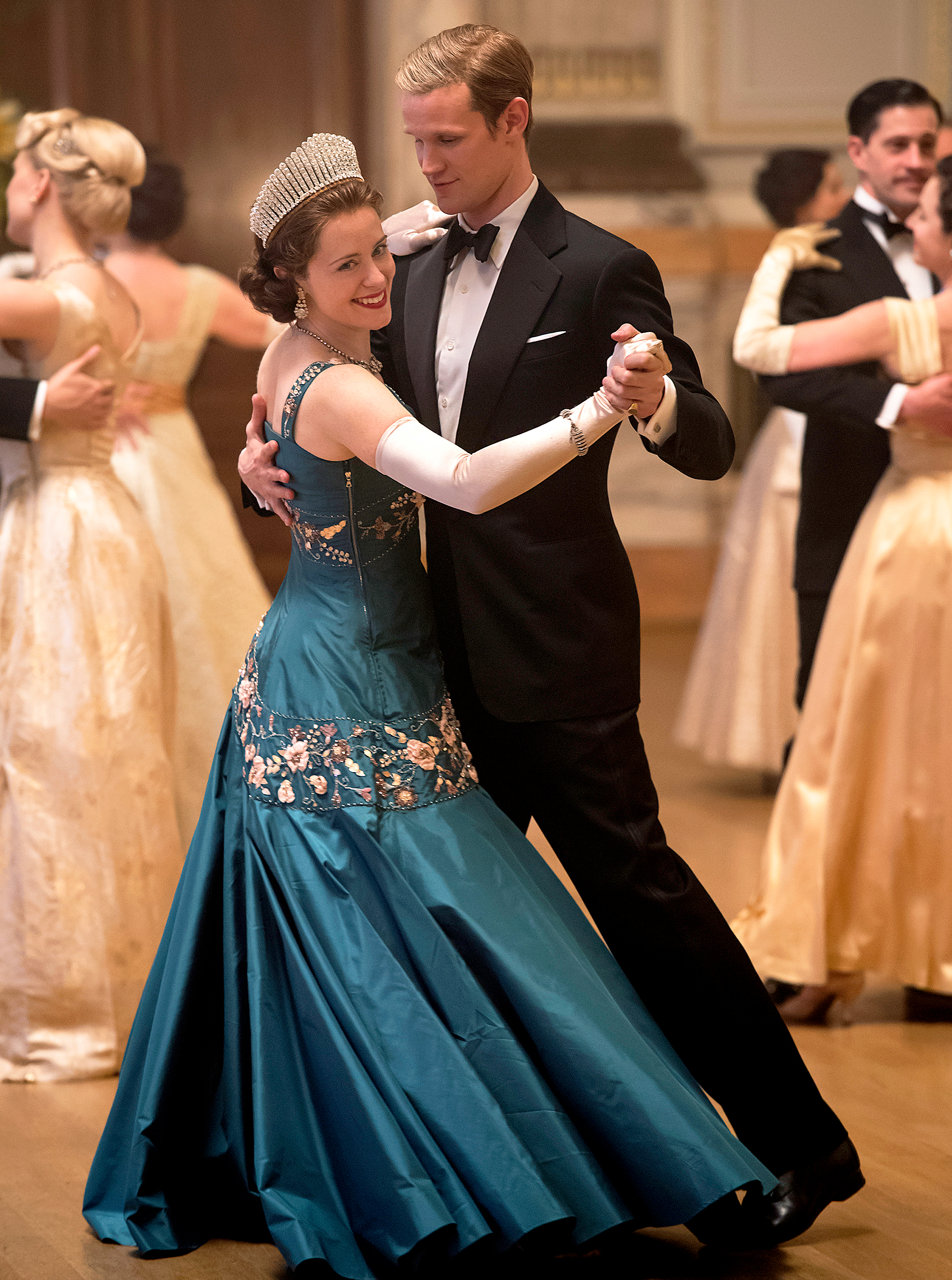 Claire Foy and Matt Smith as Queen Elizabeth and Prince Philip in 'The Crown'