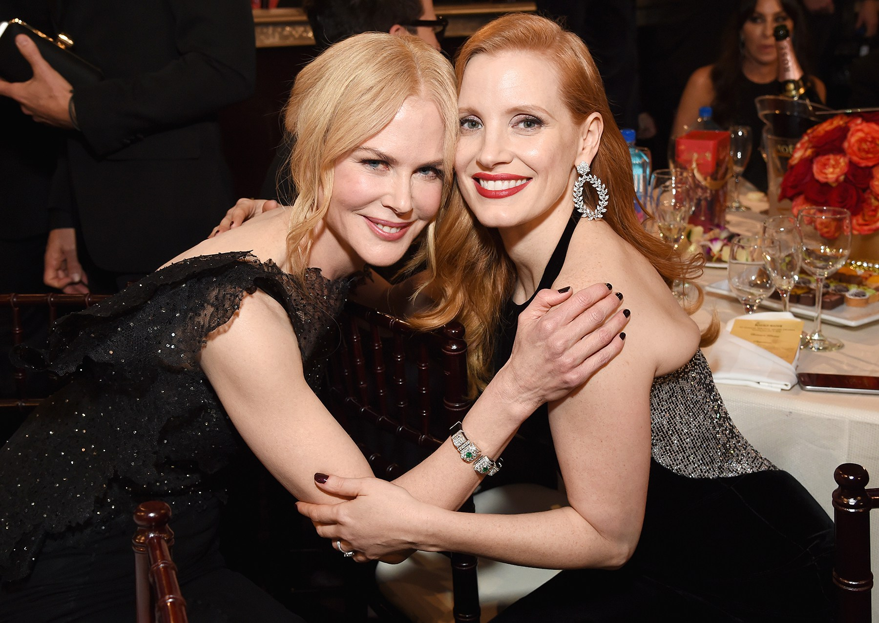 Nicole Kidman Jessica Chastain Golden Globes 2018