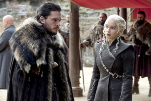 Kit Harington and Emilia Clarke on Game of Thrones.