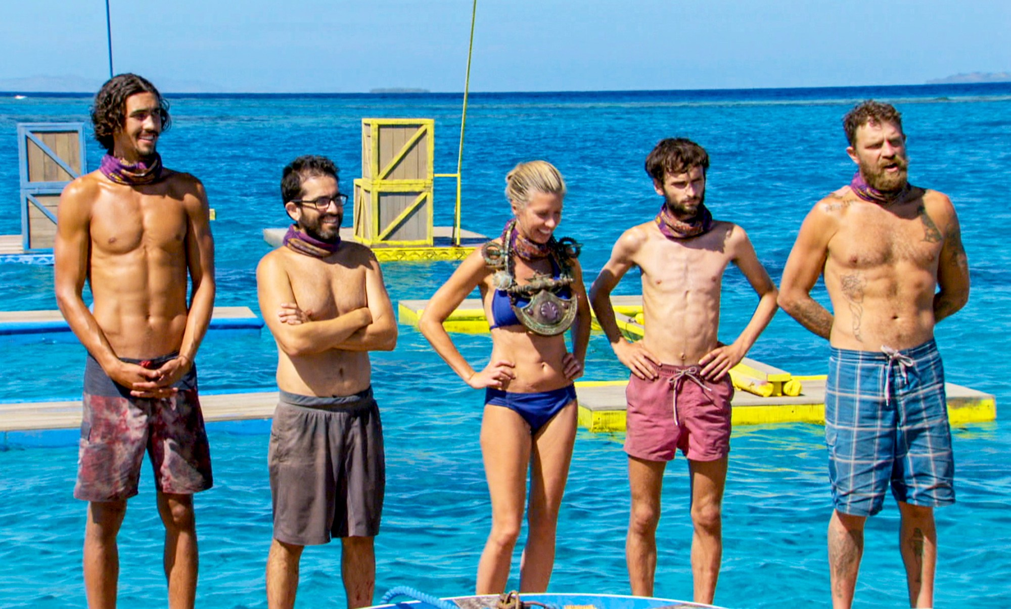 Devon Pinto, Mike Zahalsky, Chrissy Hofbeck, Ryan Ulrich and Ben Driebergen on the finale of Survivor 35, themed 'Heroes vs. Healers vs. Hustlers'