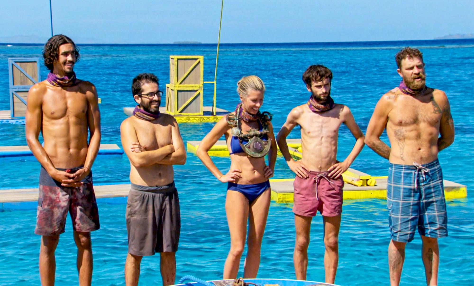 Devon Pinto, Mike Zahalsky, Chrissy Hofbeck, Ryan Ulrich and Ben Driebergen on the finale of Survivor 35, themed 'Heroes vs. Healers vs. Hustlers'