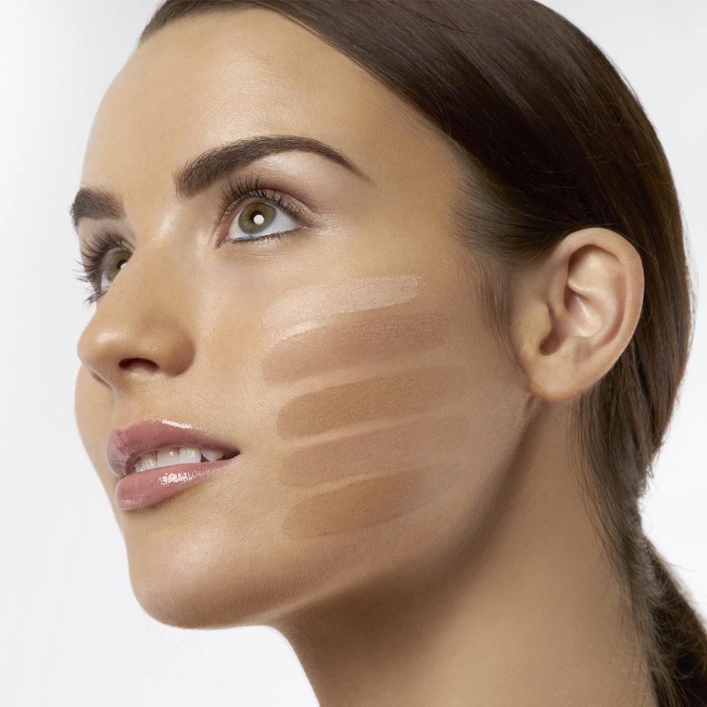 foundation shade match on medium skin model