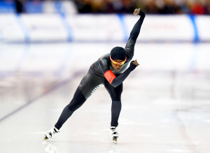Erin Jackson competes in the Ladies 500 meter event during the Long Track Speed Skating Olympic Trials at the Pettit National Ice Center on January 5, 2018 in Milwaukee, Wisconsin.