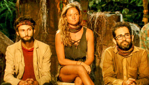 Ryan Ulrich, Ashley Nolan and Mike Zahalsky at Tribal Council on Survivor themed themed 'Heroes vs. Healers vs. Hustlers'