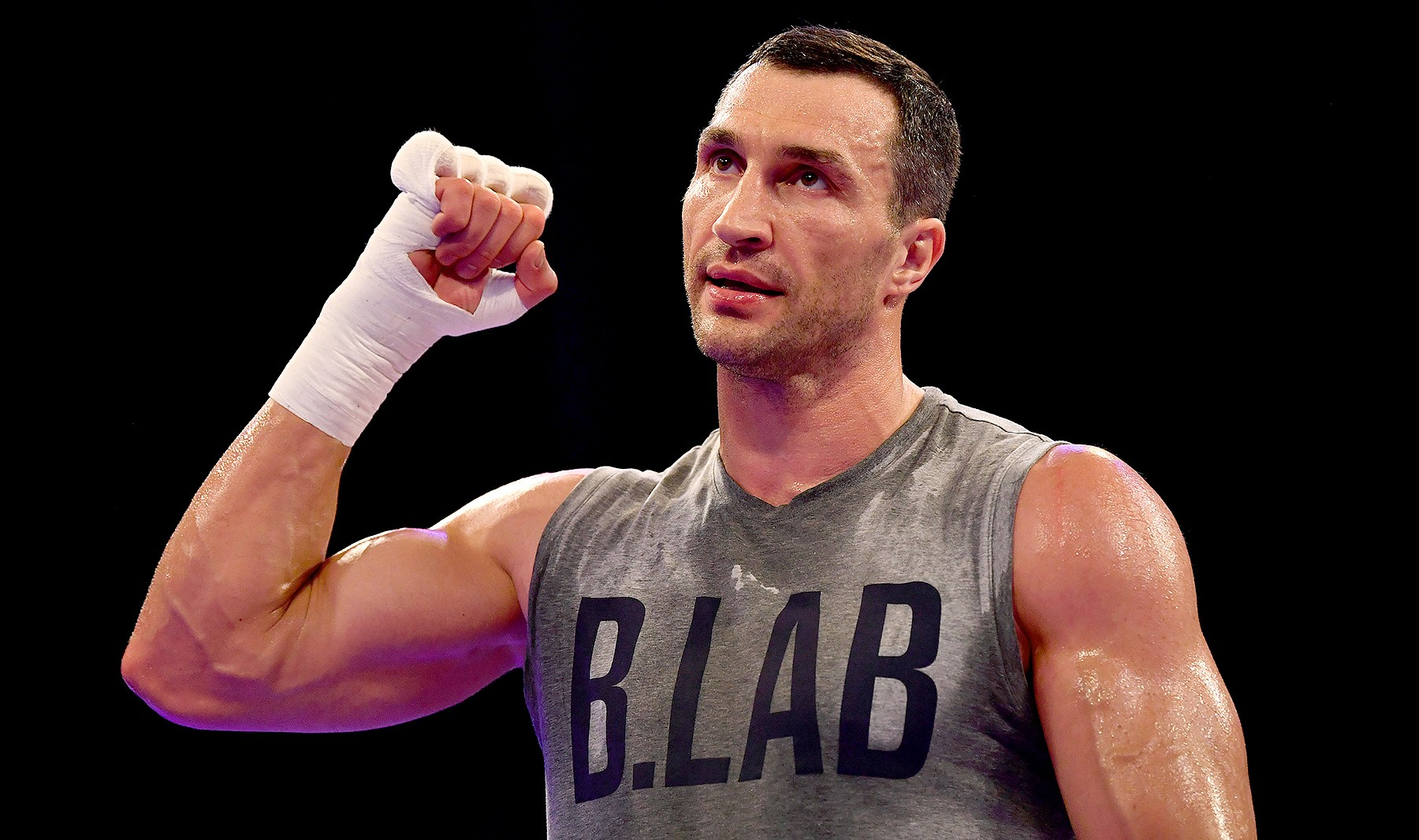 Wladimir Klitschko takes part in an open workout at Wembley Arena on April 26, 2017 in London, England. Anthony Joshua and Wladimir Klitschko are due to fight for the IBF, IBO and WBA Super Heavyweight Championships of the World at Wembley Stadium on April 29, 2017.