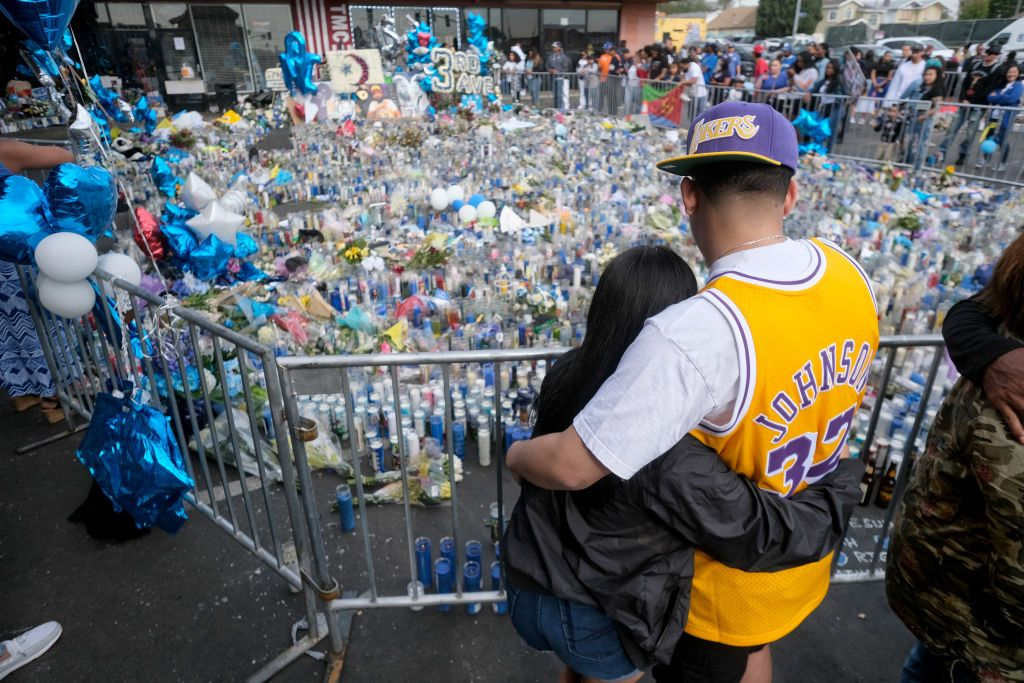 Thousands outside of Nipsey Hussle's Marathon clothing store in Los Angeles for his funeral procession