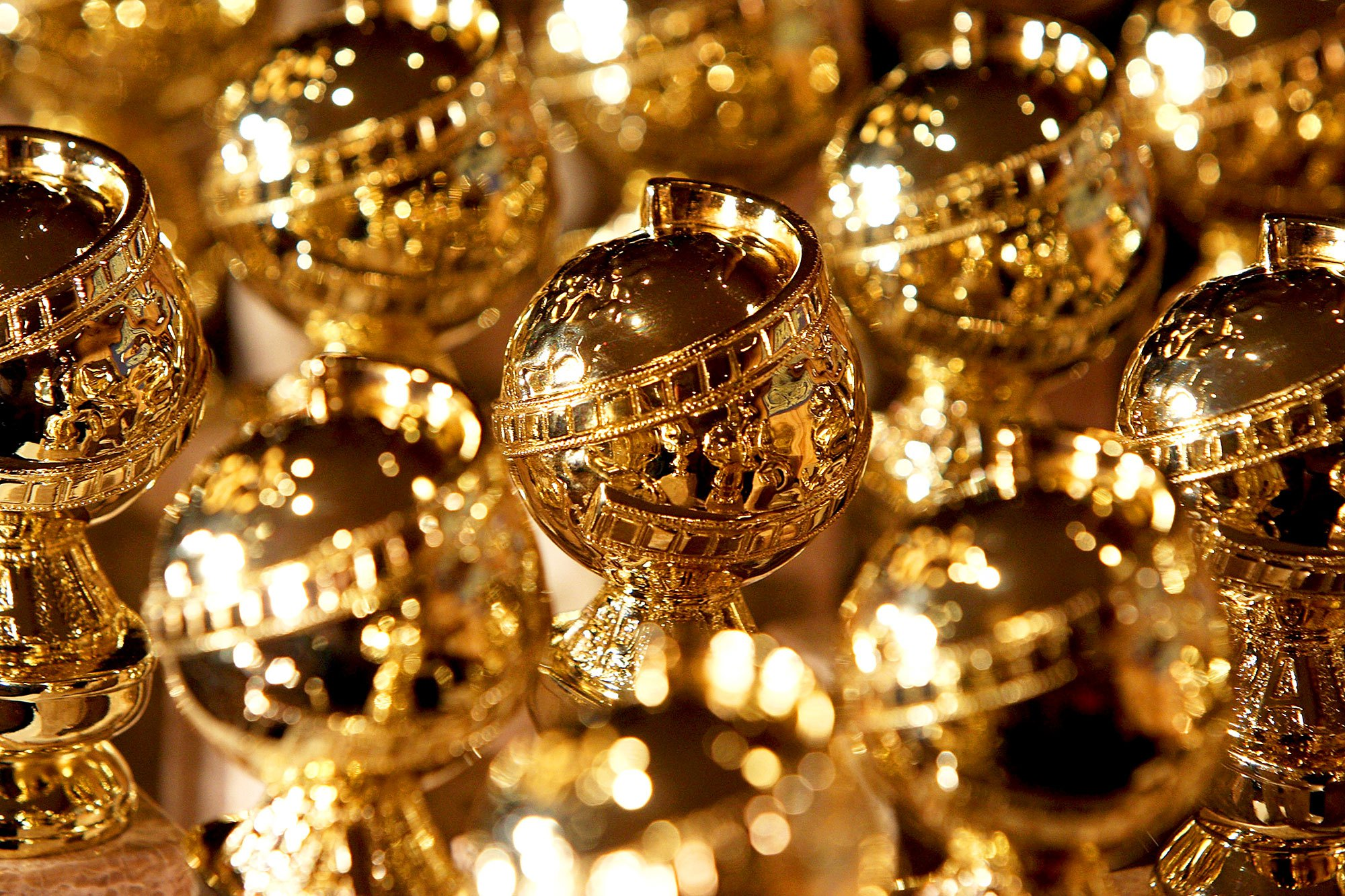 Golden Globe statuettes during an unveiling by the Hollywood Foreign Press Association at the Beverly Hilton Hotel in Beverly Hills, California.
