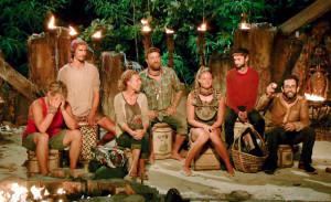 Lauren Rimmer, Devon Pinto, Chrissy Hofbeck, Ben Driebergen, Ashley Nolan, Ryan Ulrich and Mike Zahalsky at Tribal Council on Survivor themed 'Heroes vs. Healers vs. Hustlers'