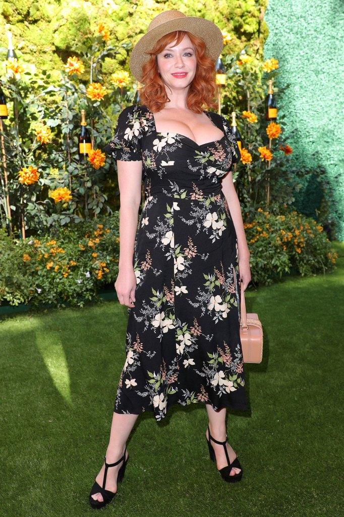 Christina Hendricks Veuve Clicquot Polo Classic Wearing Reformation Floral Flower Dress Sun Hat