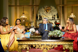 'Real Housewives of Atlanta' stars Kenya Moore, Kandi Burruss and Phaedra Parks with Andy Cohen during Reunion