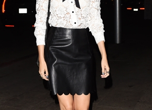 Steal Camilla Belle's White Lace Blouse And Black Leather Skirt Now