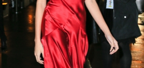 Copy Hailey Baldwin's Stunning Red Silk Dress For A Night Out